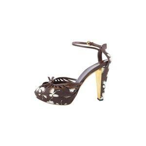 Flower Print Platform Sandal Heel 11gz0727
